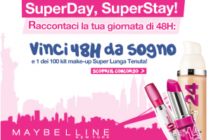 concorso a premi maybelline new york, super day super stay, vinci 48 ore da sogno e kit per il make up, campionigratuiti.eu,