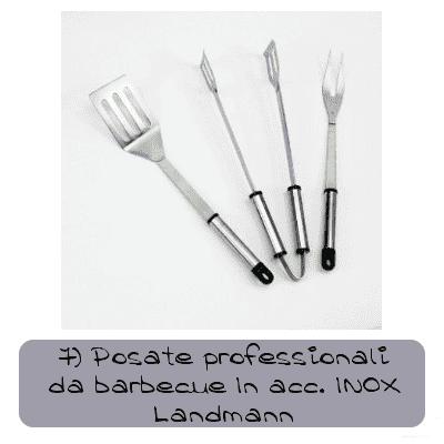 posate professionali da barbecue in acciaio inox landmann
