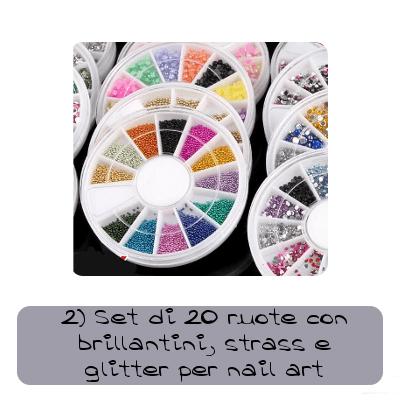 set di 20 ruote con brillantini strass e glitter per nail art